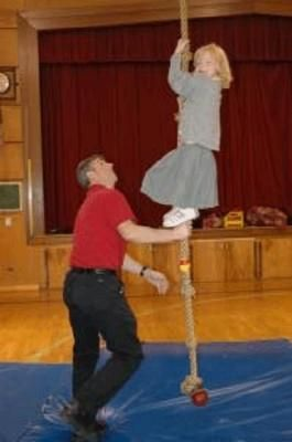 Rope climbing in gym class...