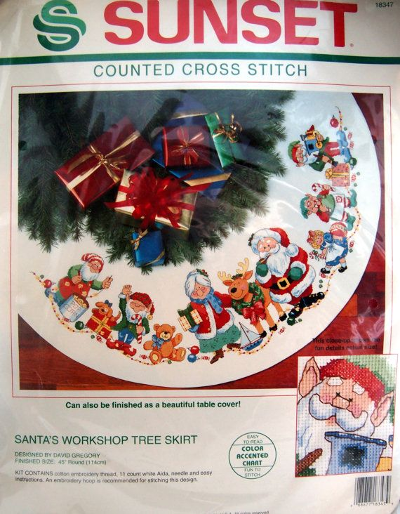 Santa's Workshop Tree Skirt By David Gregory Sunset by NeedANeedle, $59.75