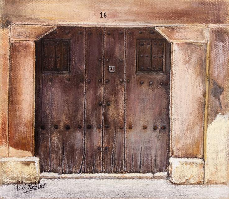 Pilar S. Robles. Puerta de La Alberca (Salamanca). Pastel. 25X22