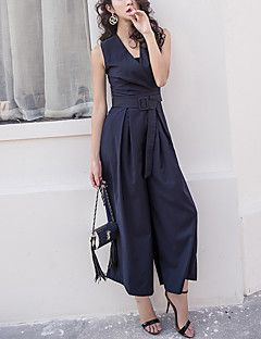 Femme Ample Combinaison-pantalon,Chic de Rue Sortie Couleur Pleine Col en V Sans Manches Taille Normale Coton Spandex Micro-élastique Eté