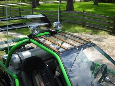 This is a full custom street legal rail buggy, green color
