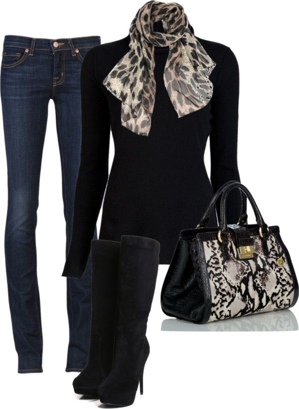 #skinnies #black #scarf #boots