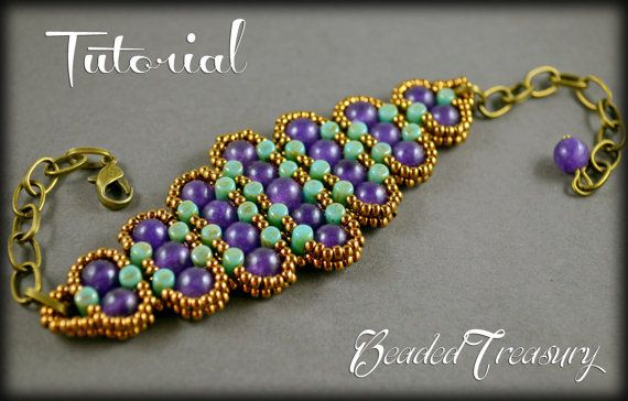 """History"" - a beaded bracelet that seems to come to you from far distant times and makes you travel into history and enjoy the golden times. This is a little treasure that offers a timeless look. This is a design with Czech two-hole Rulla beads, 6mm round amethyst gemstone beads, and seed beads size 11/0.  Tutorial available in my etsy shop BeadedTreasury."