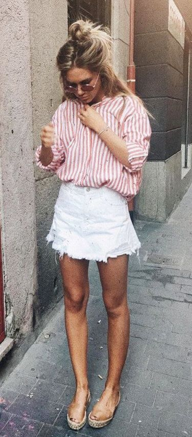 summer outfits Pink Striped Shirt + White Denim Skirt