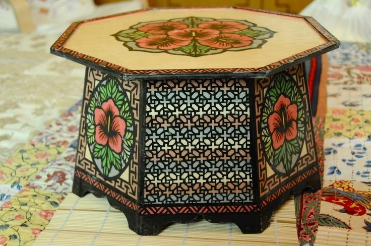 Korean table made with hanji paper.