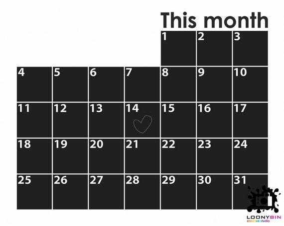 Chalkboard calendar Wall Decal loonybin by LoonyBinWorkshop