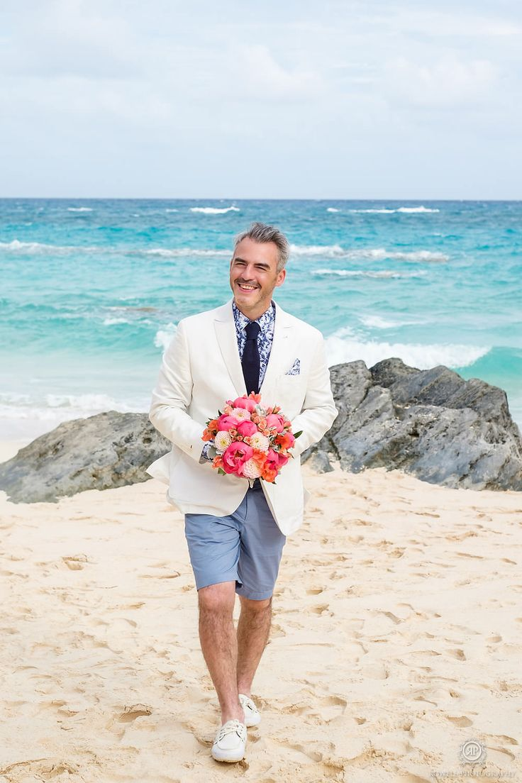Bermuda Destination Wedding  Groom in Bermuda shorts for beach wedding at stone hole bay, Bermuda