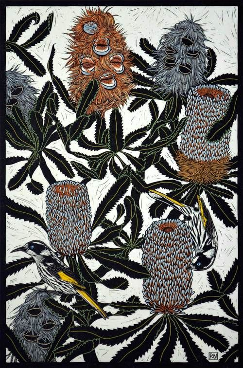 BANKSIA & HONEYEATER 74.5 X 50 CM    EDITION OF 50 HAND COLOURED LINOCUT ON HANDMADE JAPANESE PAPER $1,250