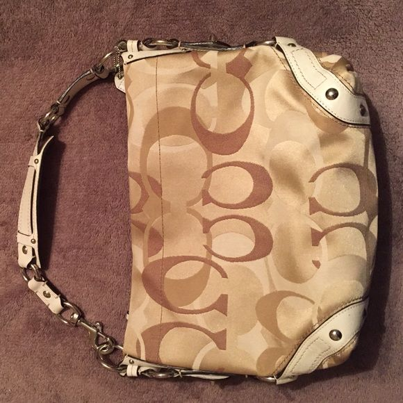 Coach hobo bag Khaki and cream with silver hardware. Normal use, great condition. I just prefer a larger bag. Coach Bags Hobos