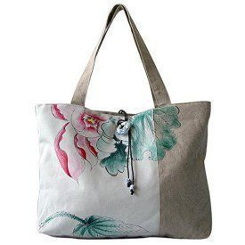 GESIMEI Women's Canvas Painted Lotus Shoulder Bag Top-Handle Tote Handbag White Trendy, Cute and Luxurious Hand Painted Leather Purses Hand painted leather purses are truly eye-catching, unique and cool. In fact they are currently trending like crazy! Obviously when you combine beautiful hand painted art, on fine quality leather the result is a timeless and charming creation just for you.