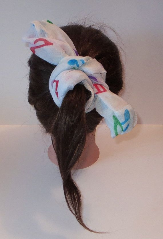 White Infinity Scarf with Musical Notes Print by TiStephani, $22.00