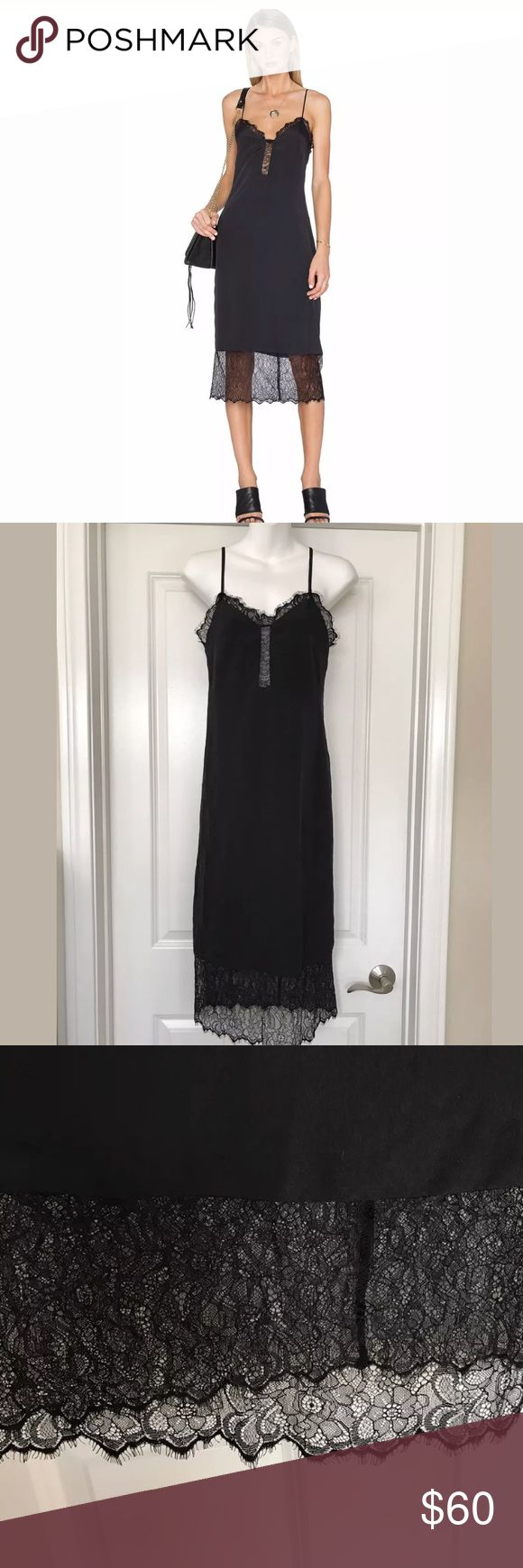 House of Harlow Emma black slip lace dress Sz Xs Lace