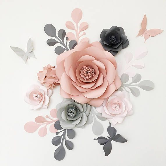Royal Paper Flower Set in Light grey Dusty Rose and Fark Grey