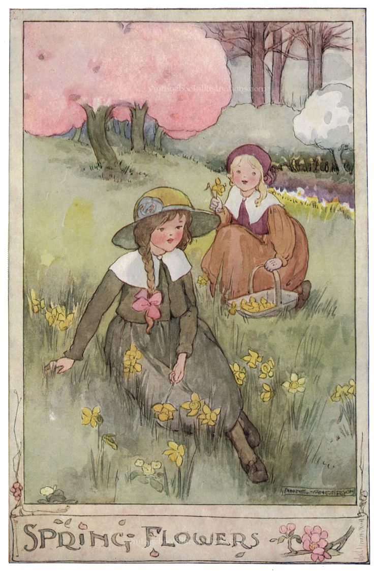 'Spring Flowers'. Anne Anderson illustration scanned from 'The Gillyflower Garden Book', c1915.