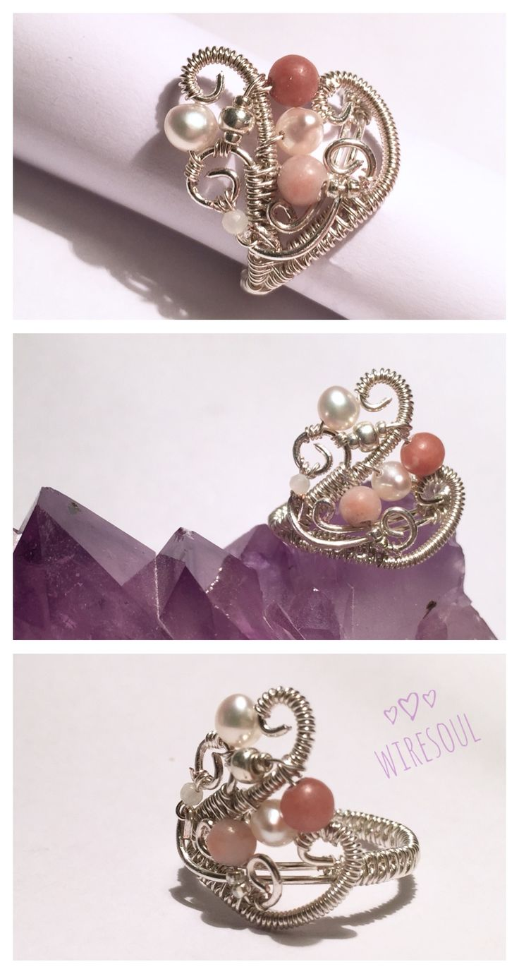 Wire jewerly, wire ring, pearl, rodonit