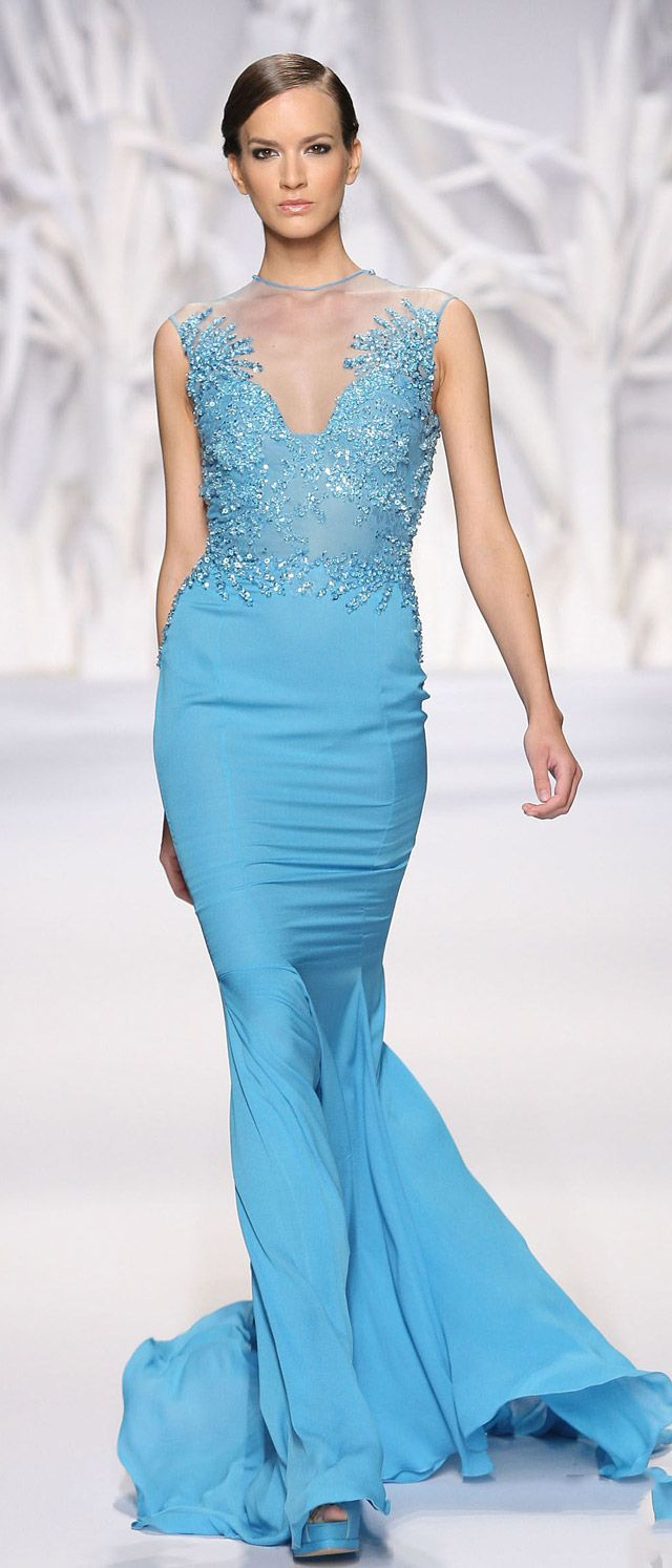 """Abed Mahfouz Haute Couture Fall Winter 2013 2014 Another lovely blue.... ❁❁❁Thanks, Pinterest Pinners, for stopping by, viewing, re-pinning, & following my boards. Have a beautiful day! ❁❁❁ **<>**✮✮""""Feel free to share on Pinterest""""✮✮"""" #fashion #gifts www.fashionupdates.net"""