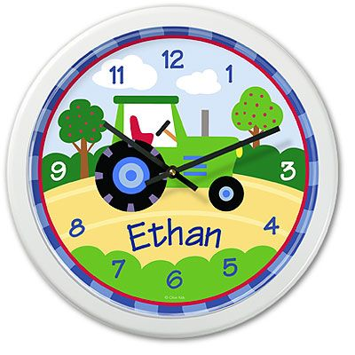 Kids personalized tractor clock by Olive Kids!
