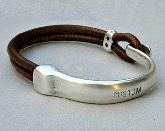 Mens Bracelet Leather Leather Bracelet Black Brown by GUSFREE