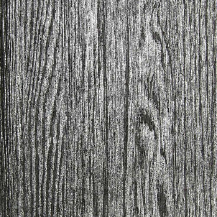 Dark Grey and Silver Textured Wood Grain Wallpaper by Julian Scott Designs