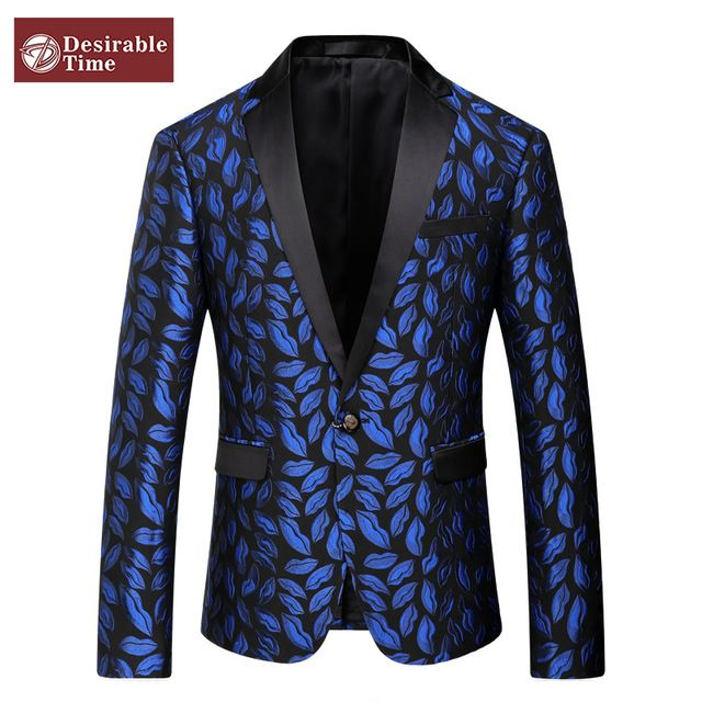 Mens Royal Blue Printed Blazer Pattern Slim Fitted Prom Blazers Men One Button Suit Jacket Stage Costumes For Singers DT080 US $69.99 /piece    CLICK LINK TO BUY THE PRODUCT  http://goo.gl/oYWEYs