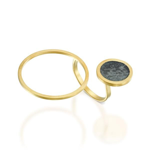 Asymmetrical Concrete Ring, in gold, by BAARA Jewelry.