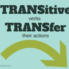 A quick and dirty tip to help you remember the difference between transitive verbs and intransitive verbs. Click through for example sentences.
