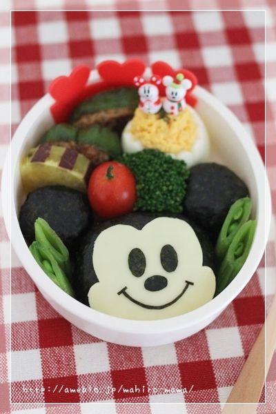 Mickey Mouse Kyaraben, Onigiri Bento Lunch (3 Rice Balls, Nori ...