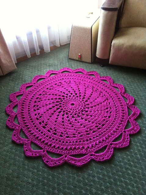 "Pattern available to buy for ""Raspberry Sorbet Rug"" by Daina Mickus."