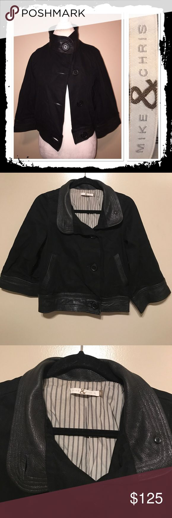 Mike & Chris leather trim jacket From celebrity leather maker gorgeous canvas jacket with 100% leather trim retails over 500! Collar can be worn up or down Mike & Chris Jackets & Coats