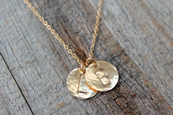 Personalized Gold Initial Necklace / Delicate Hand by JewelryVV