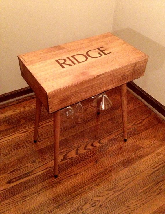 salvaged wine box end table // thinkwithoutthebox on etsy