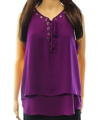 INC NEW Purple Women Size 12 Lace Up Grommet Layered Look Tank Cami Top $69 #057
