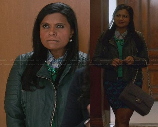 Mindy's green leather jacket and polka dot skirt on The Mindy Project.  Outfit Details: http://wornontv.net/30358/ #TheMindyProject