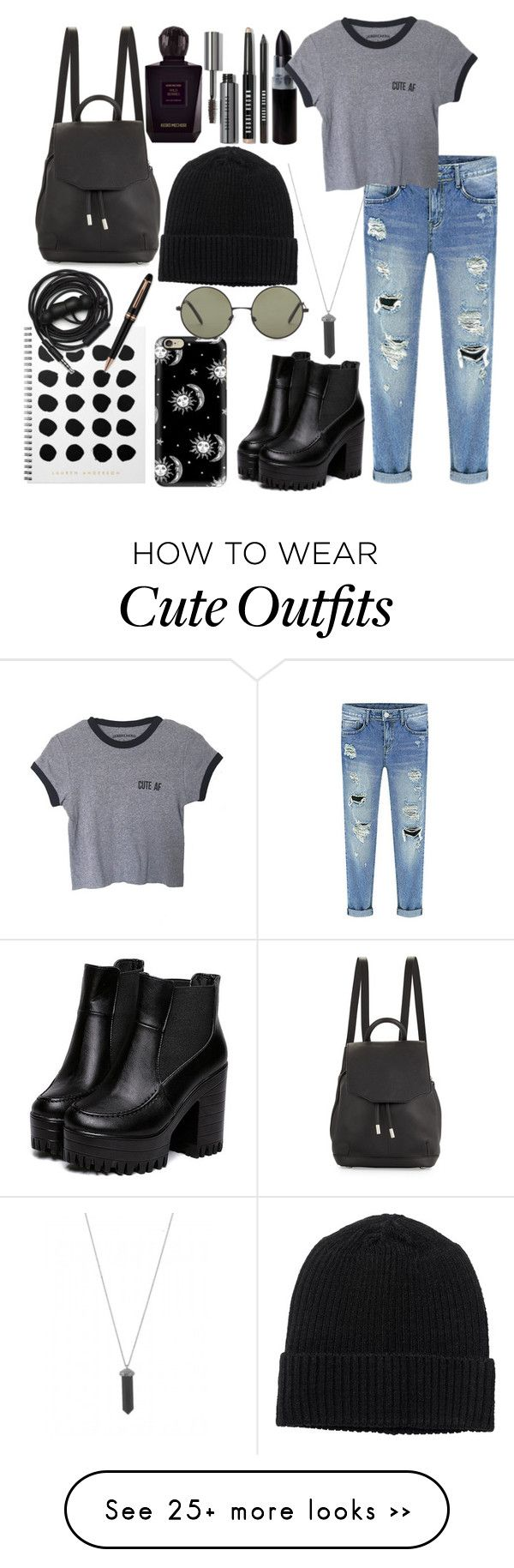 """Grunge Outfit No. 1"" by night-approaches on Polyvore featuring Karen Kane, Monki, rag & bone, Keiko Mecheri, Urbanears, Bobbi Brown Cosmetics, Montblanc, Casetify and Forever 21"