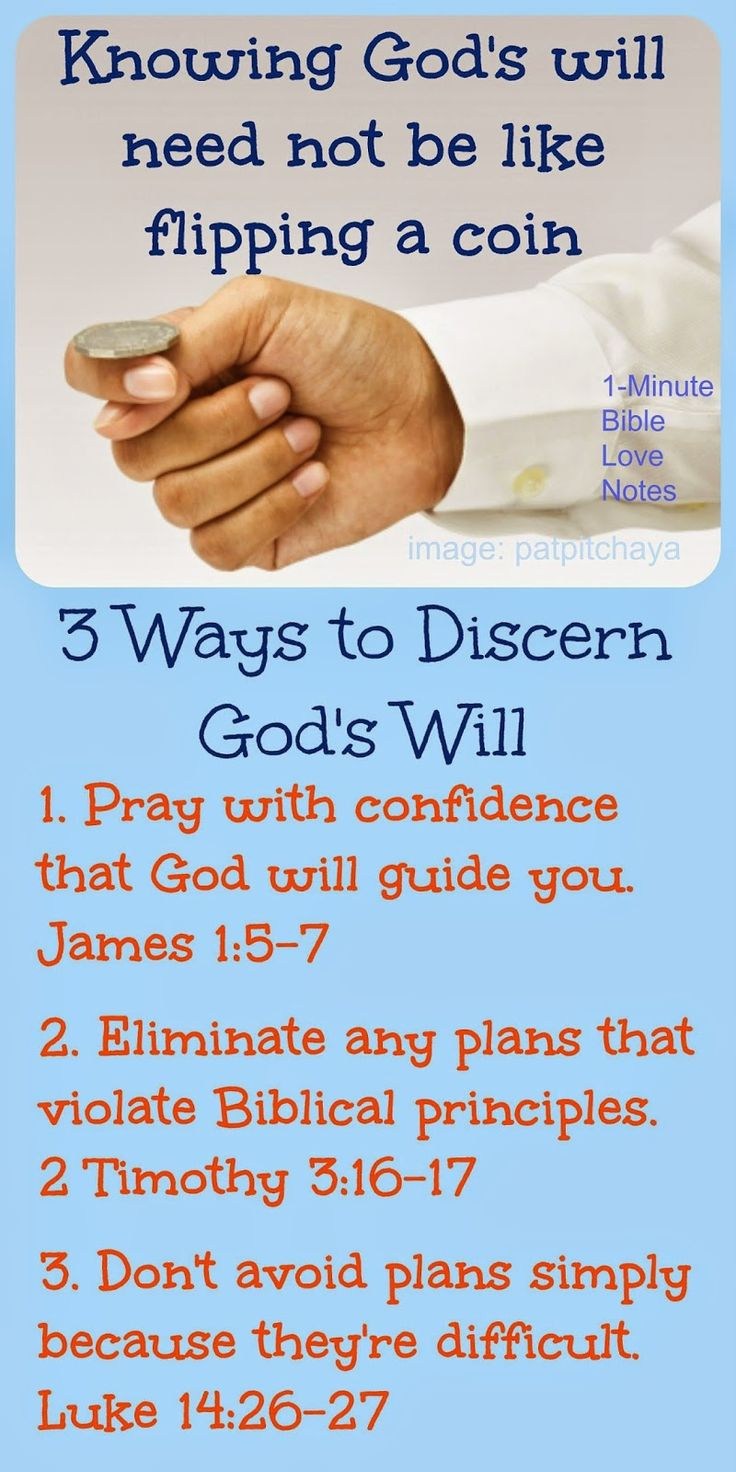 Do you sometimes feel like you might as well flip a coin because you're having difficulty discerning God's will for you? These 3 principles can help. ~ Click image and when it enlarges, click again to read this 1-minute devotion.