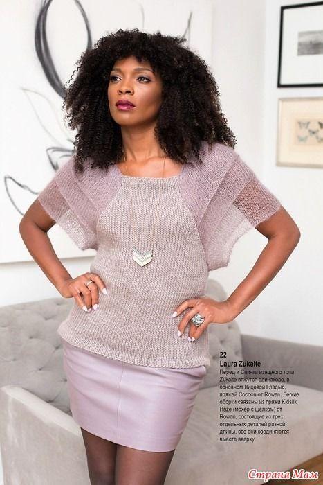 """Необычные рукава из ярусов украшают легкую вязаную кофточку. Описание вязания кофточки переведено из журнала """"Vogue Knitting Holiday"""". Размеры: S (M, L, XL)"""