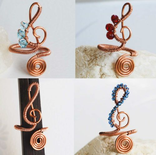 Musical Ring Copper Wire Wrap Treble Clef Adjustable Seed Bead Crystal Handmade