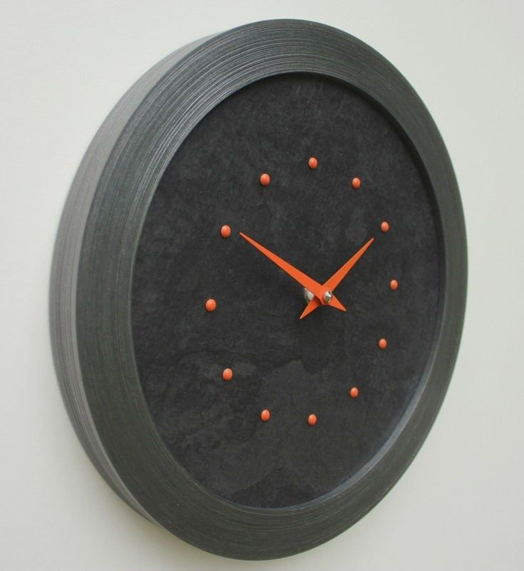 Black Slate Faced Wall Clock with Orange Studs and Hands in a Pewter Coloured Frame