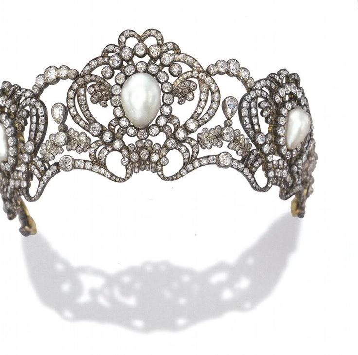 Pearl and Diamond tiara made for ArchDuchess Marie of Austria, circa 1913
