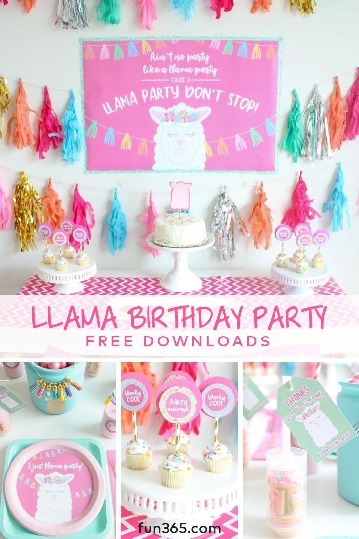 Customize your own llama birthday party with these free party downloads! From pl…