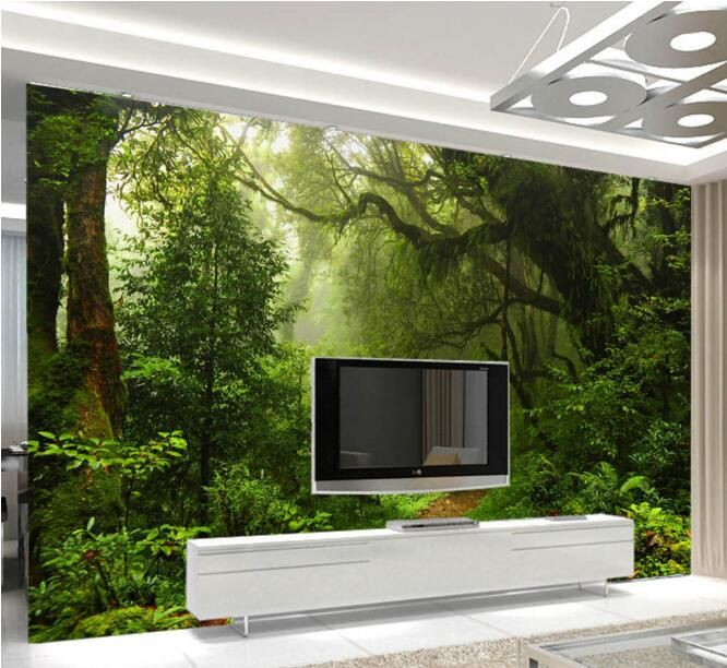 3d wallpaper custom mural non-woven wall sticker Green wall of setting of virgin forest painting photo 3d wall murals wallpaper #Affiliate