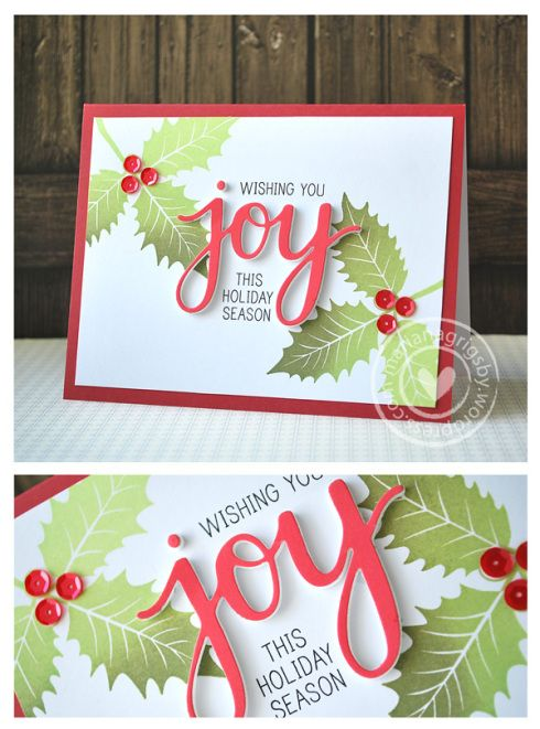 Hero Arts Joy and holly by Mariana Grigsby | Here the complete list of supplies to create this card:  Poinsettia with Berries stamp set, Joy Stamp & Cut (mounted on fun foam), Lime to Forever Green Ombré Ink, Black Dye Ink, Blush Mixed Layering Paper, Snow Layering | http://heroarts.com/shop/joy-stampcut/