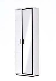 Garderobenschrank Rubin I Hochglanz Weiß Klare moderne Möbellinie Passend zur Möbelserie Rubin 1 x Garderobenschrank links mit 1 Holztür 1 Spiegeltür 2...