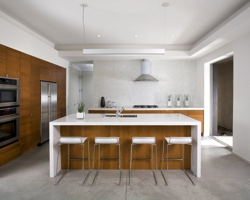 Island Concrete Floors Modern Kitchen