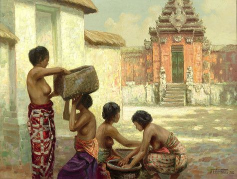This magnificent painting by Dutch artist, A.E. Herrmann, depicts Balinese women packing baskets in front of a melon-hued temple ~ M.S. Rau Antiques