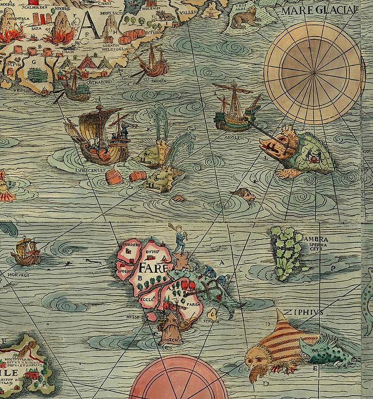 "Detail from Olaus Magnus' Carta Marina (1539), the bottom edge of ""Islandia"" sneaking in top left . marina magnus"