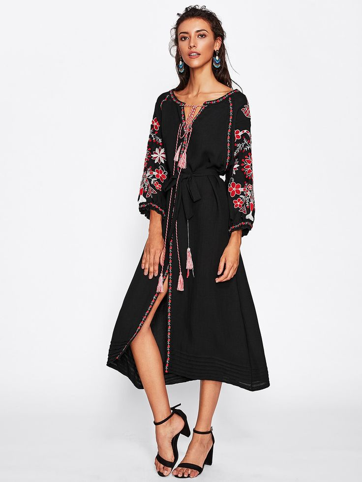 Shop Embroidered Tape Detail V Cut Tassel Tie Slit Dress online. SheIn offers Embroidered Tape Detail V Cut Tassel Tie Slit Dress & more to fit your fashionable needs.