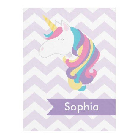 Personalized Purple Chevron Unicorn Fleece Blanket Check out these blankets that you can personalize with your own names. #blanket #throw #homedecor