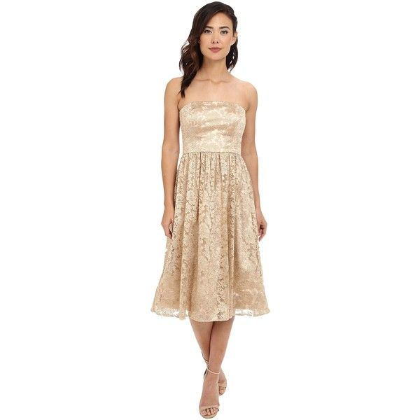 Jessica Simpson Strapless Embellished Floral Mesh (Gold) Women's Dress ($60) ❤ liked on Polyvore featuring dresses, gold, floral fit and flare dress, below the knee dresses, strapless floral dress, strapless dress and floral print dress
