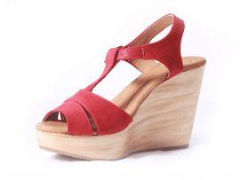 $64.99 Sandalias de plataforma de madera y cuero